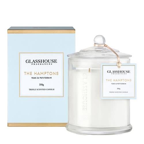 "Glasshouse ""The Hampton's"" Teak and Petigrain Triple Scented Candle"