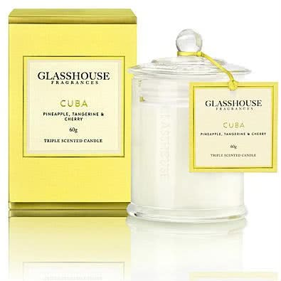 Glasshouse Cuba Mini Candle - Pineapple, Tangerine & Cherry 60g by Glasshouse Fragrances