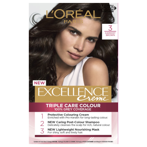 L'Oreal Paris Excellence Permanent Hair Colour - Darkest Brown 3.0