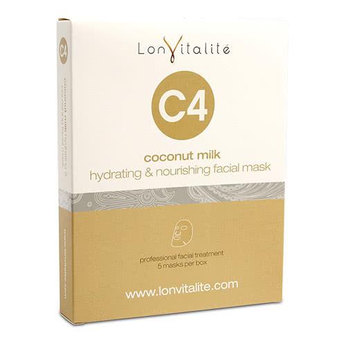 Lonvitalite C4 Coconut Milk Hydrating & Nourishing Sheet Mask - 5 Pack