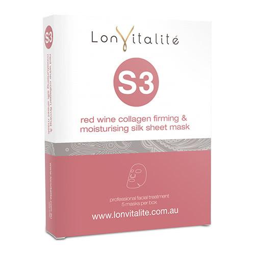 Lonvitalite S3F Red Wine Collagen Firming and Moisturising Silk Sheet Mask - 5 Pack