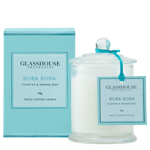 Glasshouse Bora Bora Mini Candle - Cilantro & Orange Zest 60g by Glasshouse Fragrances