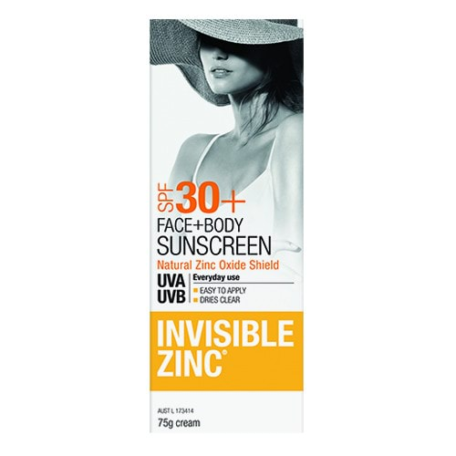 Invisible Zinc Face & Body Sunscreen SPF30+ 75g by Invisible Zinc