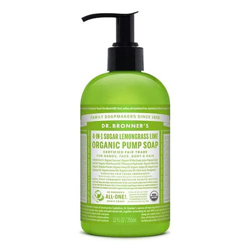 Dr. Bronner 4-in-1 Sugar Lemongrass Lime Organic Pump Soap
