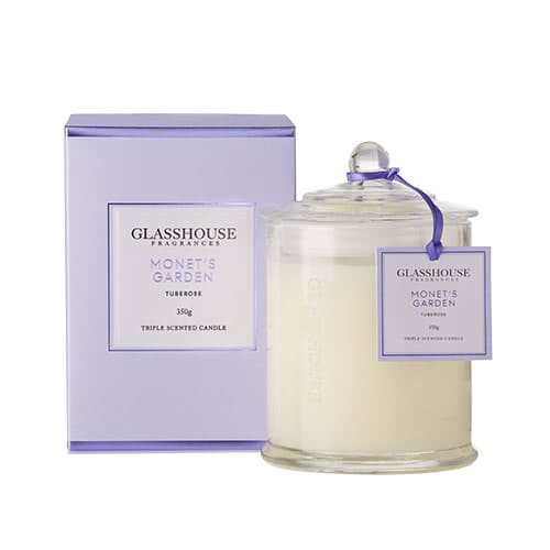 Glasshouse Monet's Garden Candle - Tuberose 350g by Glasshouse Fragrances