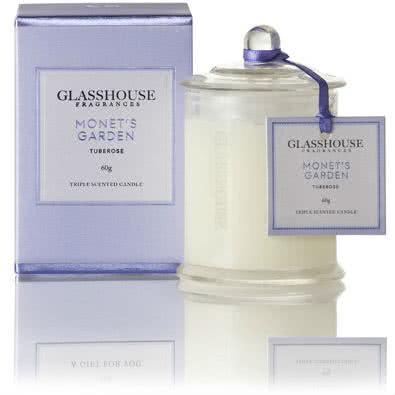 Glasshouse Monet's Garden Mini Candle - Tuberose 60g by Glasshouse Fragrances