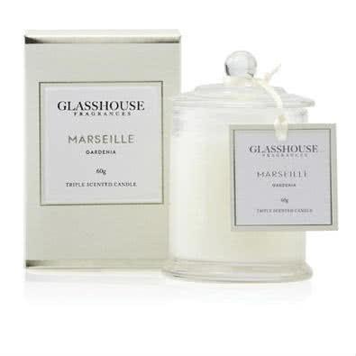 Glasshouse Marseille Mini Candle - Gardenia 60g by Glasshouse Fragrances
