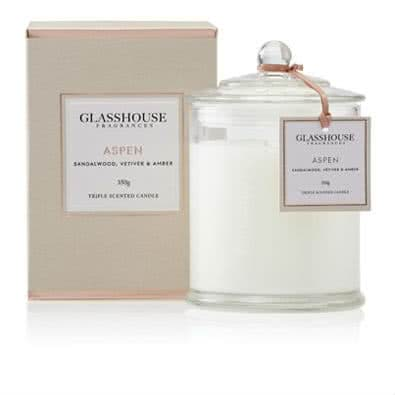 Glasshouse Aspen Candle - Sandalwood, Vetiver & Amber 350g by Glasshouse Fragrances