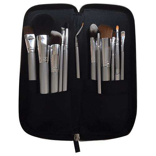 Kryolan Classic Beauty Set-  Silver Handle Brush Set - 12 Piece by Kryolan Professional Makeup