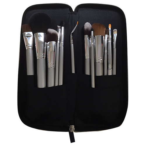 Kryolan Classic Beauty Set - Silver Handle Brushes - 12 Piece