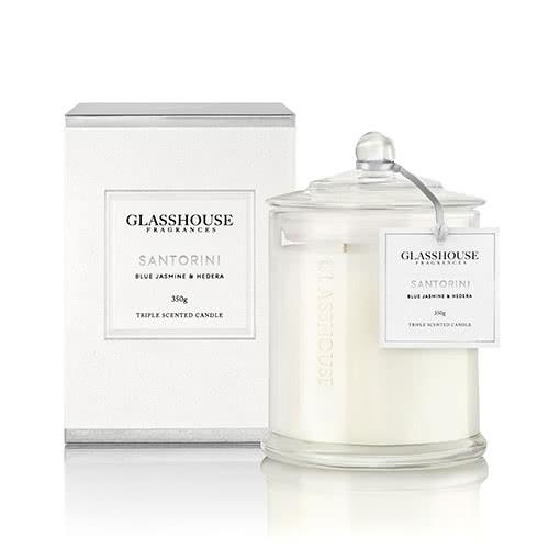 Glasshouse Santorini Candle - Blue Jasmine & Hedera 350g by Glasshouse Fragrances