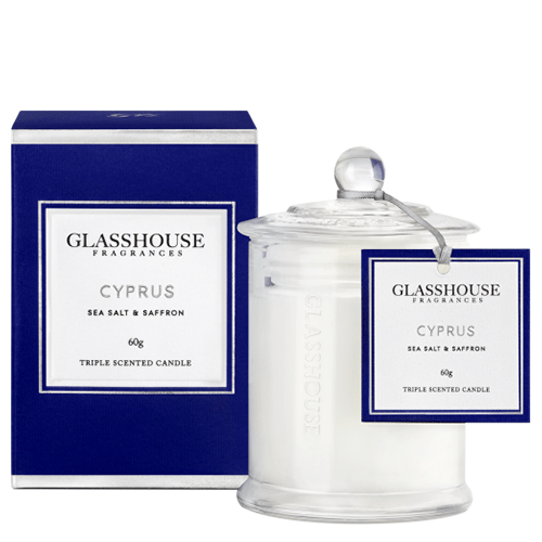Glasshouse Cyprus Mini Candle - Sea Salt & Saffron 60g by Glasshouse Fragrances