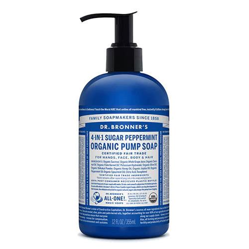 Dr. Bronner 4-in-1 Sugar Sugar and Peppermint Organic Pump Soap