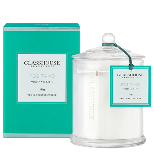 Glasshouse Positano Candle - Verbena & Basil 350g by Glasshouse Fragrances