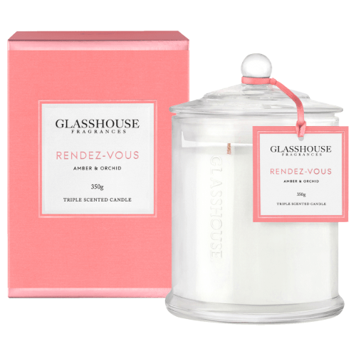 Glasshouse Rendez-Vous Candle - Amber & Orchid 350g by Glasshouse Fragrances
