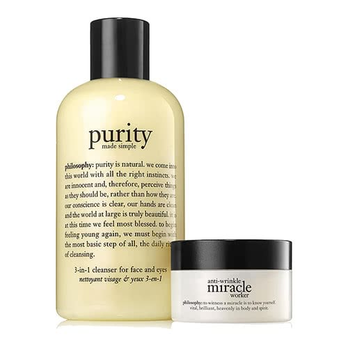 philosophy purity made simple 3-in-1 cleanser 240ml + miracle worker day day 15ml by philosophy
