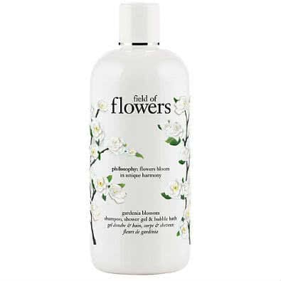 philosophy field of flowers gardenia blossom shampoo, shower gel and bubble bath by philosophy