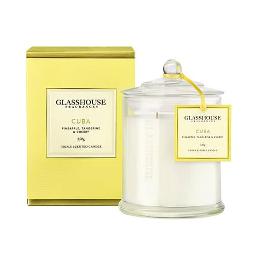 Glasshouse Cuba Candle - Pineapple, Tangerine & Cherry 350g by Glasshouse Fragrances