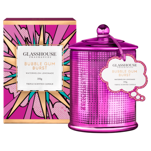 Glasshouse Bubblegum Burst Candle - Watermelon Lemonade 350g by Glasshouse Fragrances