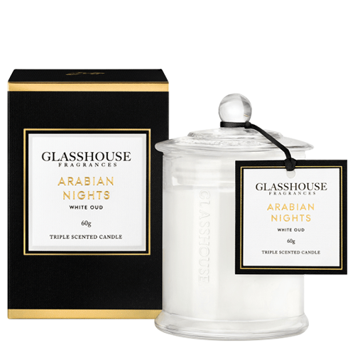 Glasshouse Arabian Nights Mini Candle - White Oud 60g by Glasshouse Fragrances