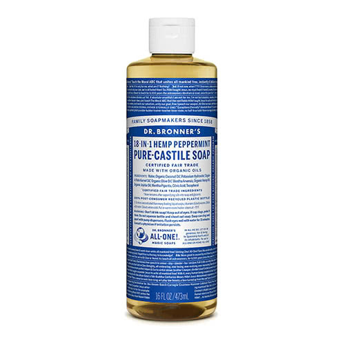 Dr. Bronner Castile Liquid Soap - Peppermint 473ml by Dr. Bronner's