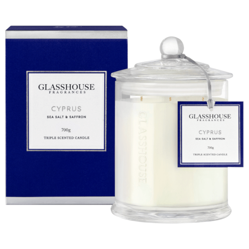 Glasshouse Cyprus Candle - Sea Salt & Saffron 700g by Glasshouse Fragrances
