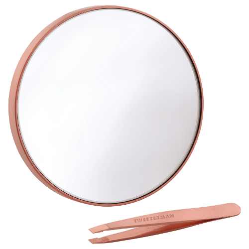 Tweezerman Rose Gold Mini Slant Tweezer with Mirror Duo