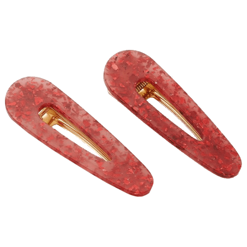 Valet Kelly Clip Duo- Red Glitter by Valet
