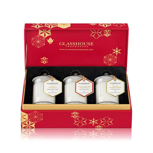 Glasshouse Christmas Collection Miniature Candle Trio  by Glasshouse Fragrances