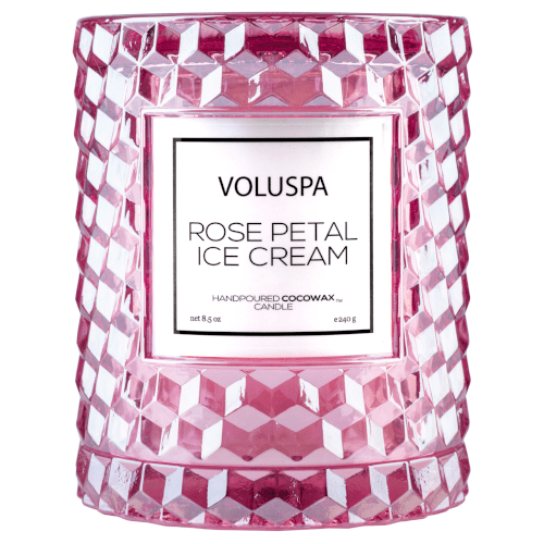 Voluspa Rose Petal Ice Cream Icon Cloche Candle by Voluspa