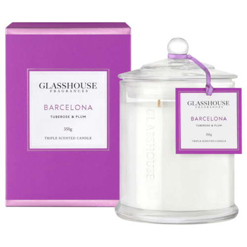 Glasshouse Barcelona Candle - Tuberose & Plum 350g by Glasshouse Fragrances
