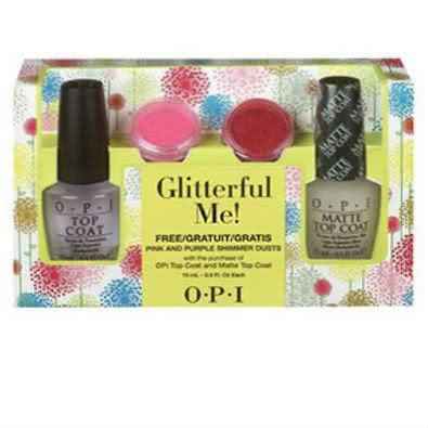 OPI Glitterful Me! Top Coat & Matte Top Coat Nail Polish Duo with FREE Shimmer Dusts